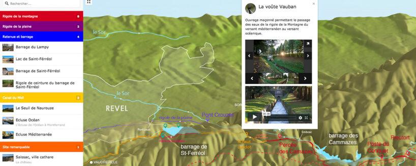 canal du midi: carte interactive avec photo et vidéo et photo 360.