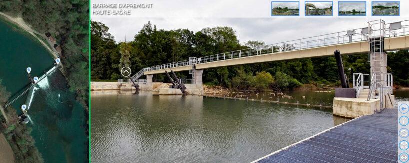 Barrage d'Apremont sur la Saône : visite virtuelle et panoramique 360°.